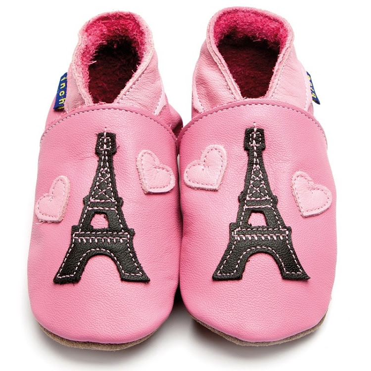 Inch Blue Soft Sole Leather Shoes - Eiffel Pink (6-12 months) by Berry Wonderful