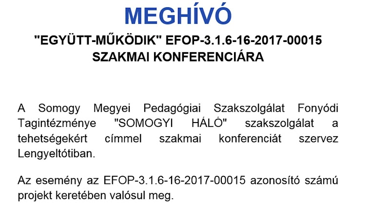 Meghívó -szakmai konferencia - Lengyeltóti 2019.03.21