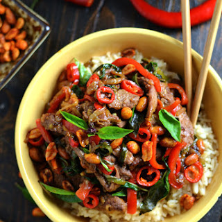30 Minute Thai Beef Stir Fry with Sriracha Roasted Peanuts.