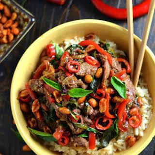 30 Minute Thai Beef Stir Fry with Sriracha Roasted Peanuts.