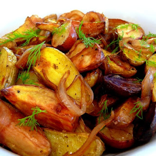Medley of Roasted Potatoes with Balsamic Glazed Onions