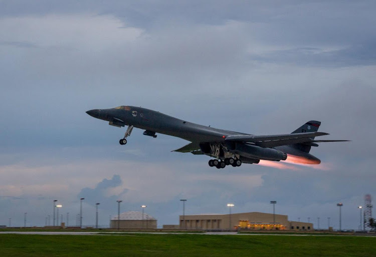 A U.S. Air Force B-1B Lancer assigned to the 37th Expeditionary Bomb Squadron, takes-off to fly a bilateral mission with Japanese and South Korea Air Force jets. Picture: Air Force/Handout via REUTERS