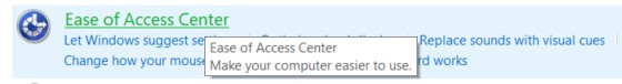 The Ease of Access center in the Ease of Access option