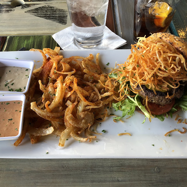 Gluten free burger and onion strings. Special gf batter and dedicated fryer. What a treat!