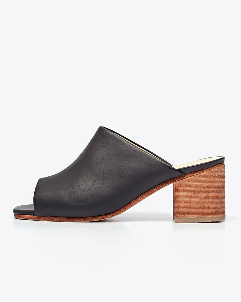Nisolo black slip on mule