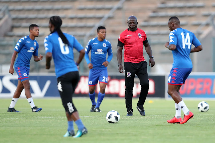 SuperSport United caretaker coach Kaitano Tembo taking charge of a warm-up session during the Absa Premiership match against Polokwane City at Lucas Moripe Stadium, Atteridgeville South Africa on 23 January 2018.