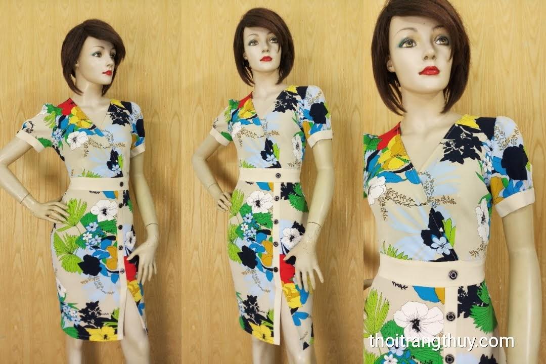 Váy hoa xẻ tà kiểu công sở và dạo phố V615 Thời Trang Thủy