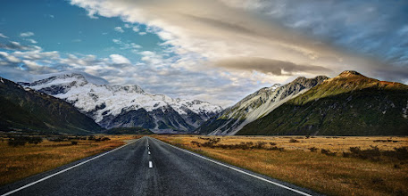 Photo: The Road to Mount Cook  Here's another image from a few days ago... we ended up at the end of the road at a little cafe that was opened by one of NZ's heroes, Sir Edmund Hillary!
