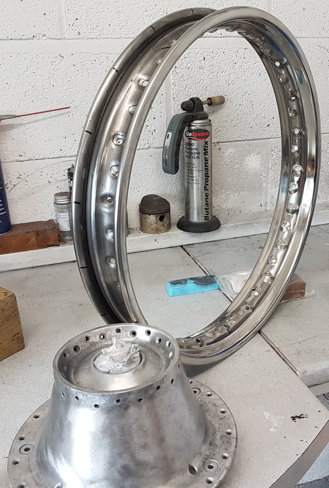 Triumph Bonneville Wheel hub and rim ready for assembly.