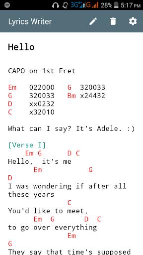 Lyrics Writer With Chords Apk Download Apkpure