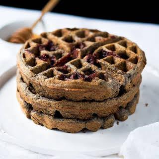 Gluten Free Buckwheat Waffles With Raspberry Swirls.