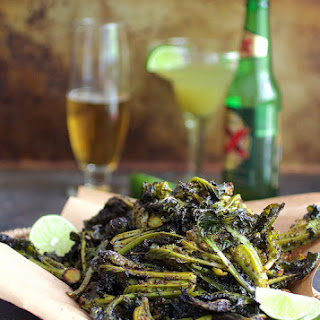 Chili Roasted Kale Sprouts with Lime Salt