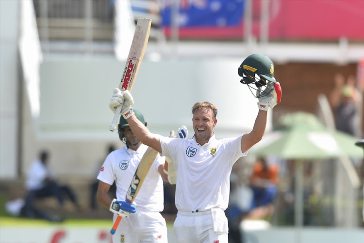 AB de Villiers of the Proteas celebrates scoring 100 runs during day 3 of the 2nd Sunfoil Test match between South Africa and Australia at St Georges Park on March 11, 2018 in Port Elizabeth, South Africa.