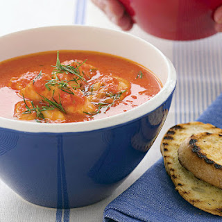 Provencal-Style Fish Soup with Garlic Toast.