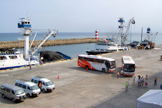 Photo: buses loading passengers for excursions - little vans took us to port entrance