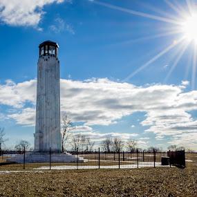 Belle Isle Light with Burst by Chris Mowers - Buildings & Architecture Public & Historical ( sunburst, belle isle, lighthouse, belle isle lighthouse, detroit )