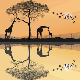 Savana with giraffes by Vladimir Ceresnak - Illustration Animals ( animals, giraffe, big, geese, mammal )
