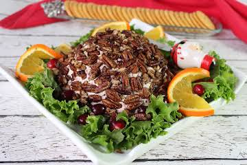 Cranberry Orange Cheese Ball w/ Caramelized Pecans
