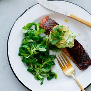 Brown Sugar and Chili-Rubbed Salmon with Avocado Crema