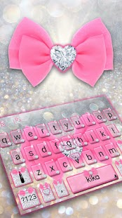 Pink Silver Luxury Bow Keyboard Theme - náhled