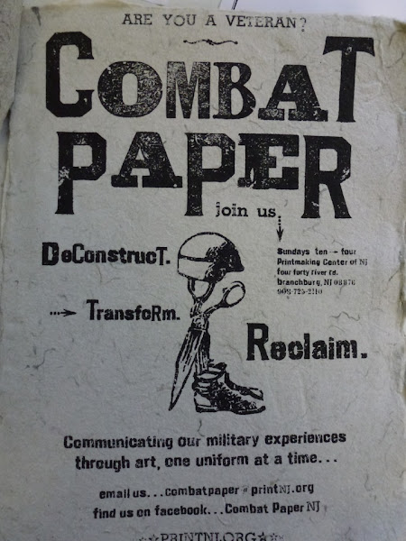 Photo: COMBAT PAPER ADVERTISEMENT By Eli Wright and David Keefe.  Printed in October.   The Combat Paper Project directors hope that from their home base at the Printmaking Center of New Jersey they can eventually outfit a decommissioned military medic wagon as a mobile studio to take paper-making workshops wherever they are needed. This flier was created to advertise a workshop. http://to.pbs.org/IoY52r