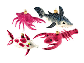 Photo: BERGDORF GOODMAN Exclusively ours. Mouth-blown glass ornaments. Fish $38. Crab $48. Shark $48. Lobster $45. Poland. Seventh Floor. 212 872 2686