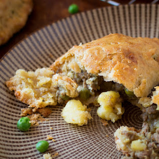 Curried Beef Hand Pies with potatoes and peas