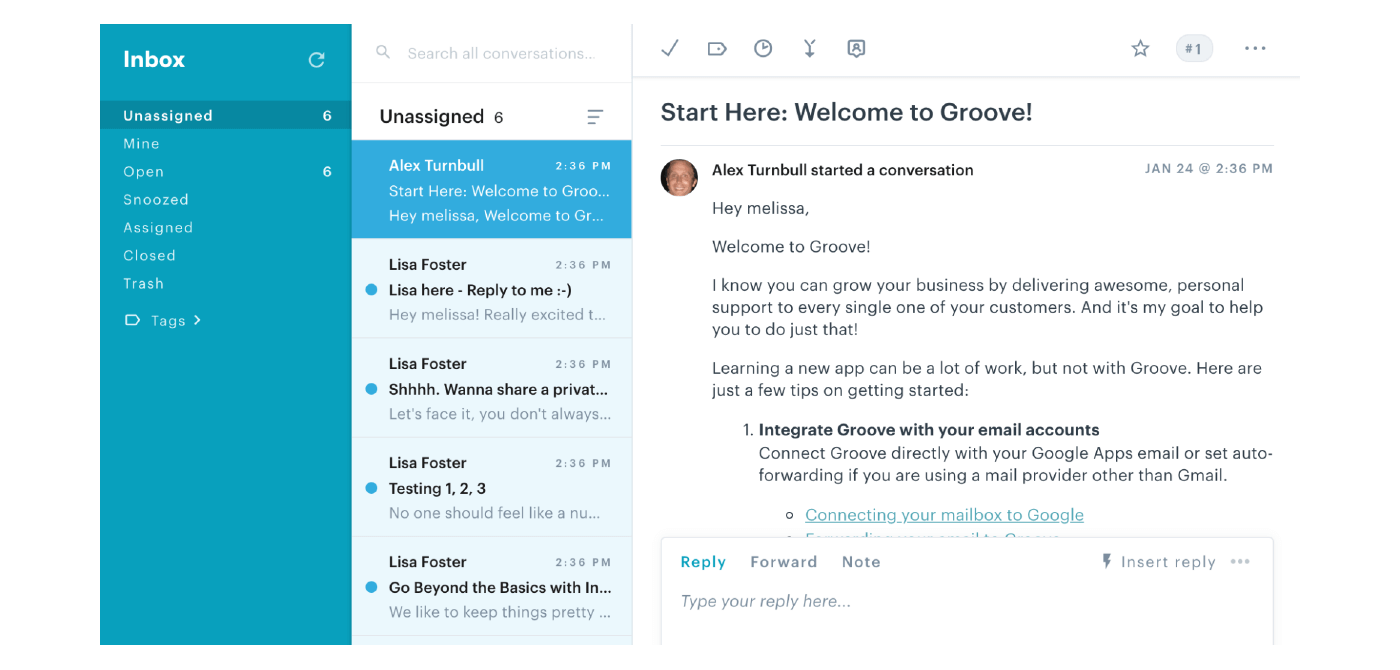 Groove pre-populates its help desk with onboarding emails.