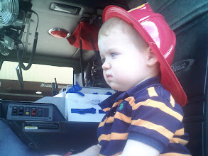 Photo: Laim driving a real fire truck