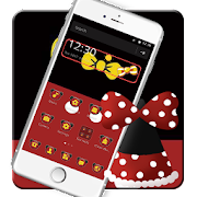 Black Red Simple Yellow Bow Theme