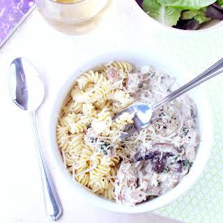 Creamy Rotisserie Chicken and Mushroom Pasta #WeekdaySupper.