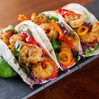 Shrimp Tacos with Spicy Pickled Peppers and Lime-Cilantro Crema