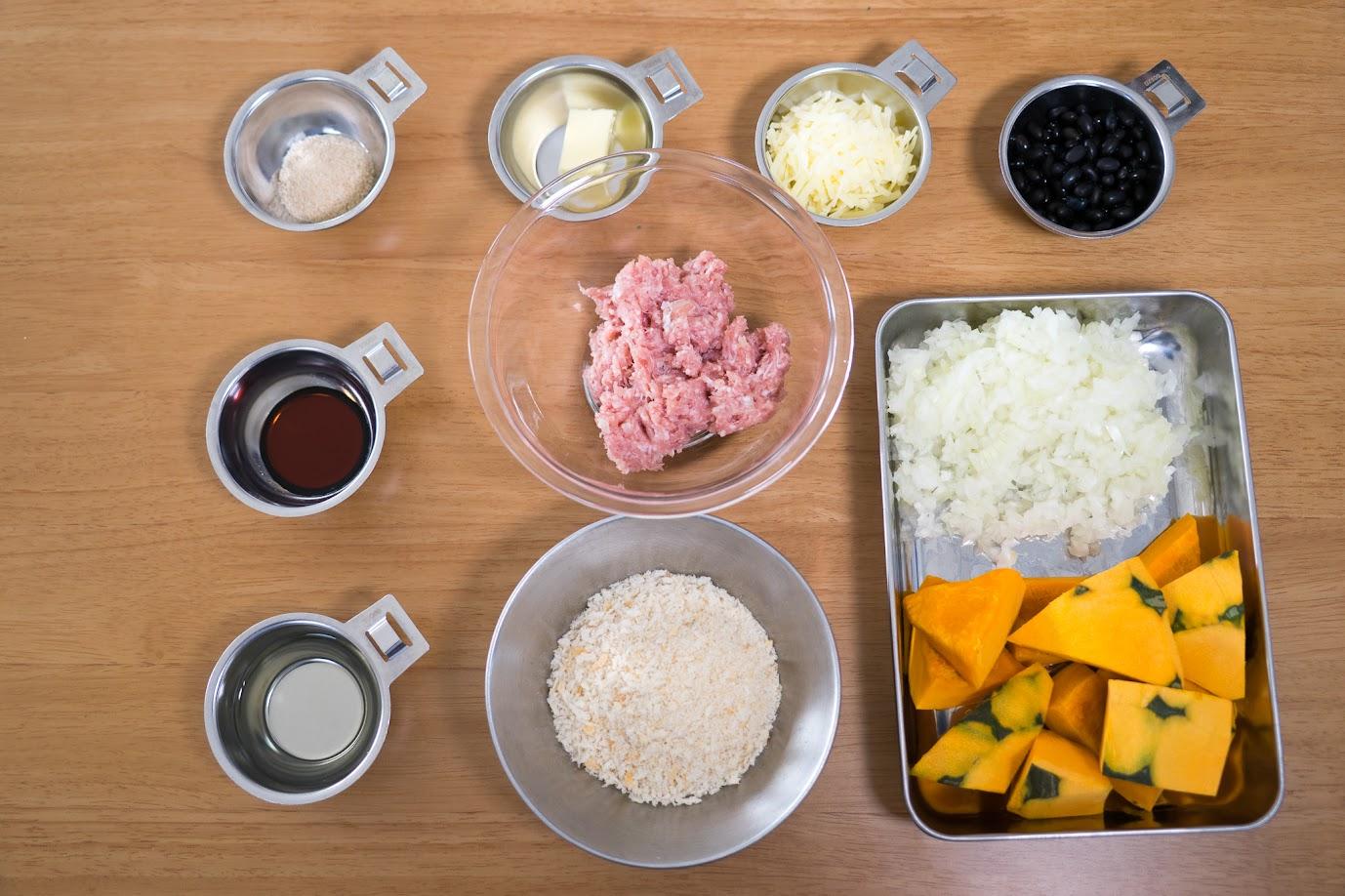 黒千石レシピ:黒千石大豆と南瓜のスコップコロッケ・材料