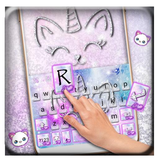 Silver Unicorn Cat Keyboard Theme for PC
