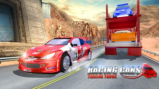 Racing Cars Trailer Truck 3D