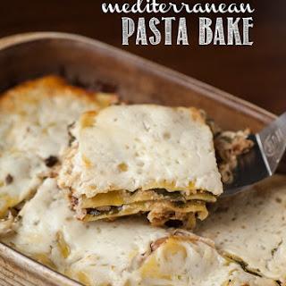 Cheesy Chicken Mediterranean Pasta Bake.