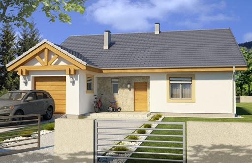 projekt Ambrozja 2 wersja B z poddaszem do adaptacji z pojedynczym garażem