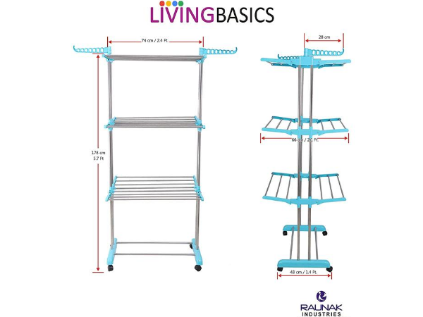 LivingBasics® Heavy Duty Rust-free Stainless Steel Double Pole Cloth Drying Stand