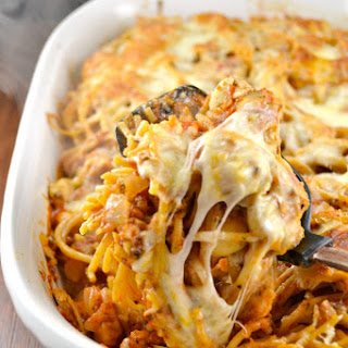 Spicy Vegetarian Baked Spaghetti.