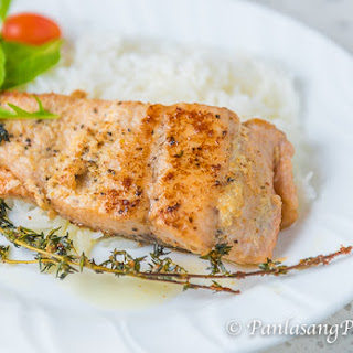 Lemon Garlic Butter Salmon with spring salad