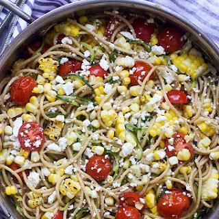 Summer Veggie Whole-Wheat and Zucchini Spaghetti