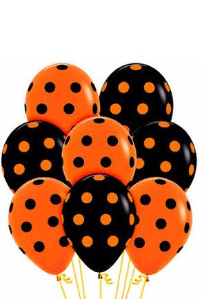 Ballonger, Svart/Orange med prickar 8 st