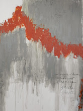 Photo: GHOSTS w MARS ORANGE 48 x 36 acrylics, pencil, charcoal