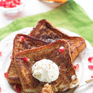Eggnog French Toast With Cinnamon Whipped Cream.