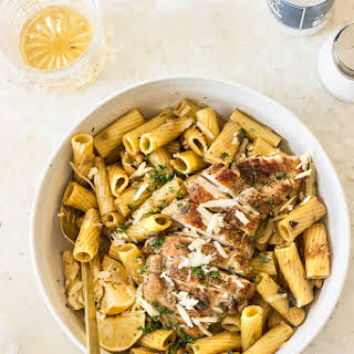 Sage Pasta with Parmesan Sauce and Chicken.