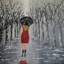 The lady in red  by Stephanie Veronique - Painting All Painting ( walking, bigginer, woman, umbrella, lady in red, acrylic, trees, b&w trees, red dress )