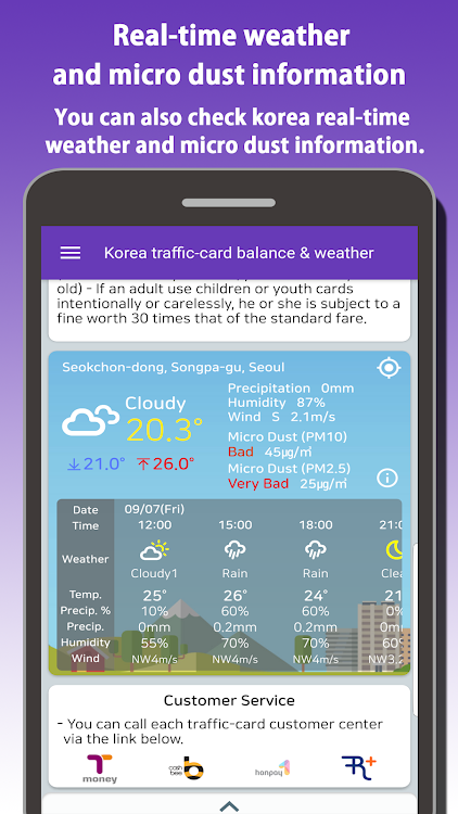 Korea traffic-card balance&weather(Tmoney,Cashbee) – (Android Apps