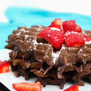 Double Chocolate Chip Strawberry Oat Waffles