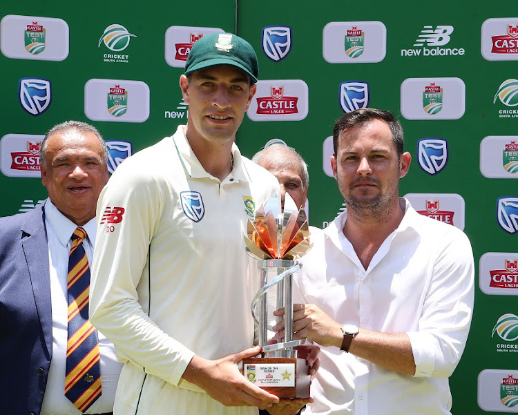 Man of the Series Duanne Olivier of South Africa during the 2018/19 Castle Lager 3rd Test Series match between South Africa and Pakistan at the Wanderers Stadium, Johannesburg on 14 January 2019.