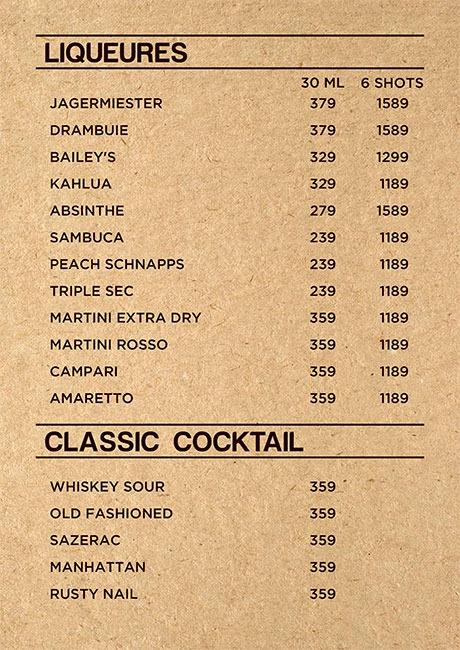 Friction The Drinkery menu 2